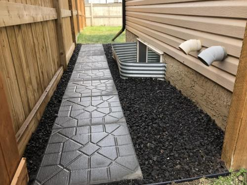 Sidewalk pavers with lava rock