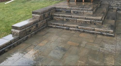 River Rock Paver & Alan Block retaining walls & stairs